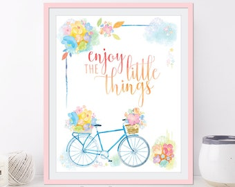 Enjoy the little things - Quote Art Print Poster - 8 x 10 inch - bike illustration