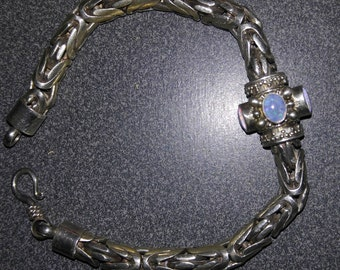 Silver and 3 Opal Heavy Chain Bracelet circa 1990, Free Shipping!