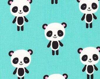 Urban Zoologie Panda's on AQUA by Ann Kelle for Robert Kaufman - 1 Yard
