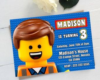 Lego Birthday, Lego Invitation, Lego Birthday Invitation, Lego Party, Emmet Lego Birthday Party, Lego Printable Invitation