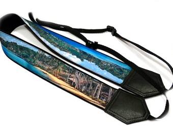 DSLR Camera Strap. Sea Camera Strap. Beach camera strap. Ocean, palms and sand. Landscape. Camera accessories. Photographer gift.