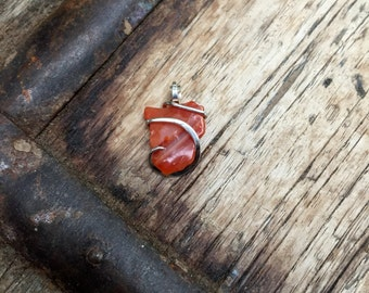 Carnelian shard in forged sterling silver