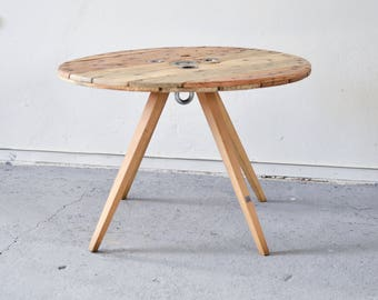 Elegant cable spool coffee table / Cable reel table / Industrial cafe pub table / Wooden rugged side table