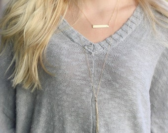 Gold Necklace, Personalized Necklace, Gold Bar Necklace, Initial Necklace, Dainty Necklace, Bridesmaid Gift, Gift for Her, The Silver Wren