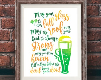 Art Posters, Wall Art, St. Patrick's Day Irish Proverb, Art Prints, Print Posters, Watercolor, Irish Saying, Blessing