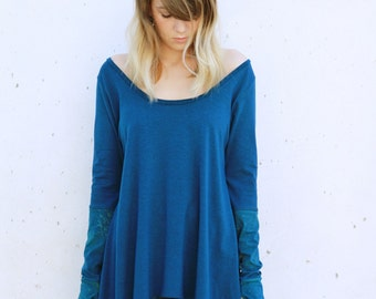 SALE- Blue Asymmetrical Top, Loose Top, Long Sleeves Blue Shirt, Handmade Printed, Oversized sweatshirt