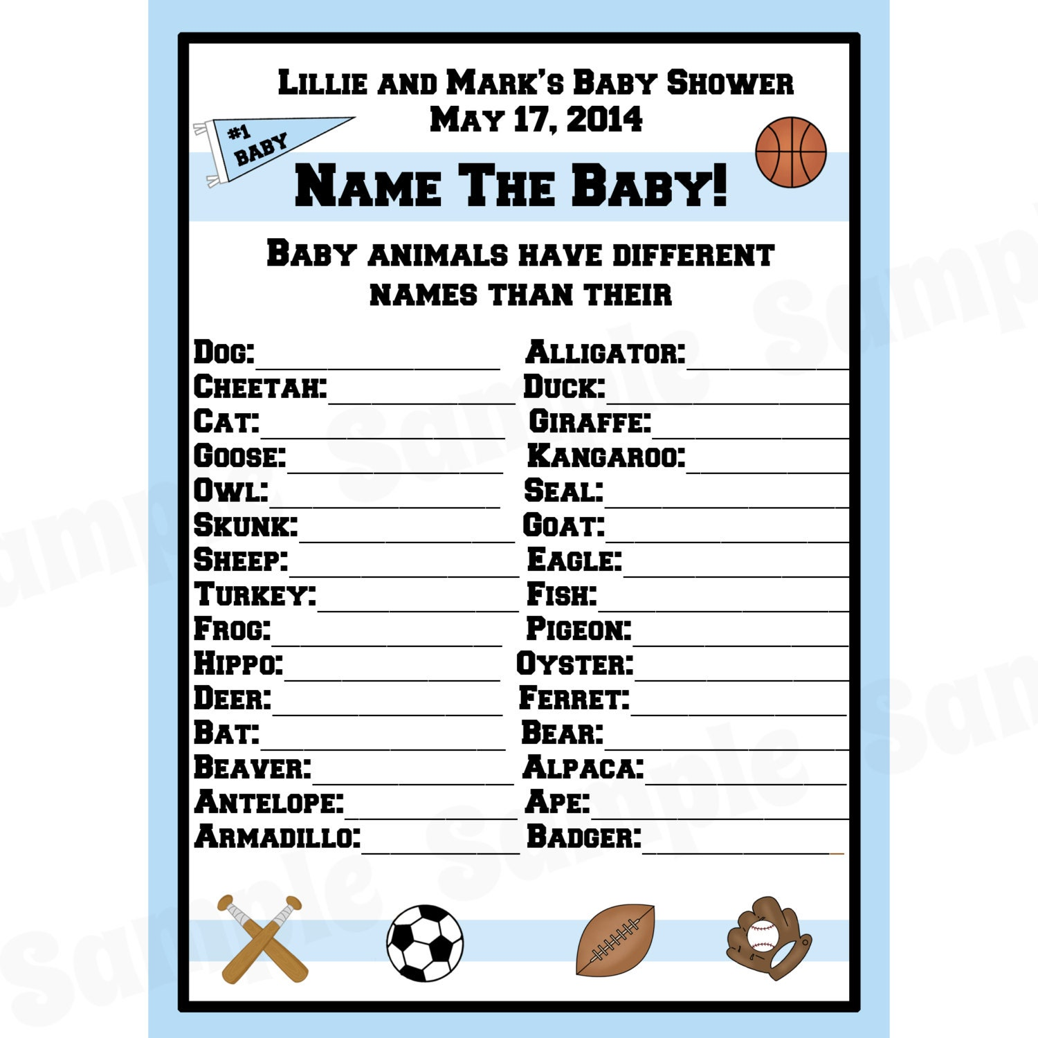 Baby Shower Game Name The Baby Animal: 24 Personalized Baby Shower Baby Animal Name Game Cards