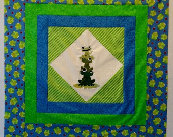 Handmade Fun Stacked Frogs On Point embroidered Baby Quilt top 41.5x41.5