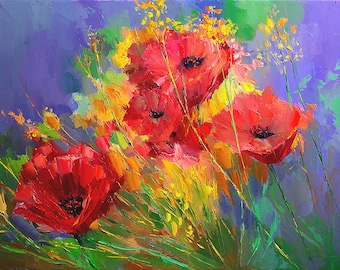 Sale | Poppies Oil Painting Giclee Print | Nature Art | Palette Knife Painting Charles Hessemer