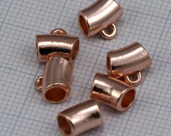 10 pcs 8 x 6 mm (hole 3,8 mm ) rose gold plated alloy charm hanger holder 117