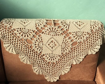 """Irises Floral crochet pattern sofa cover square, hand crochet table cover, nightstand cover for home decor, 23.5"""" SQ table linen"""