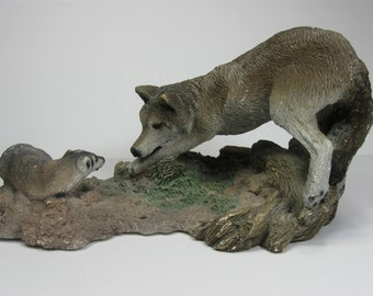 Vintage Wolf Sculpture, Wolf vs. Badger, The Stand Off, Living Stone Inc, 1994, Animal Decor, Man Cave