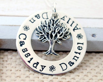 Handmade Personalized Family Tree Necklace - Stamped Metal Jewelry - Mommy Grandma Nana Necklace - Mother's Day Gift - Sterling Silver