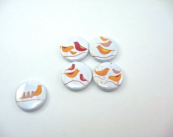 5 fridge magnets - bird family flock yellow red white - fit magnabilities 1171