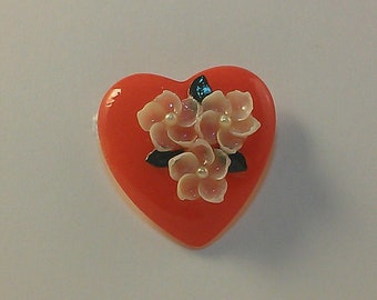 Red Heart with White Flowers
