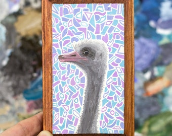 Mini Ostrich Oil Painting - Ostrich Painting - Ostrich Art - Animal Painting - Oil Painting - Animal Art - Small Painting - Abstract Art