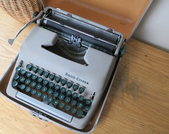 Vintage Smith Corona Sterling Gray Manual Portable Typewriter for Repair