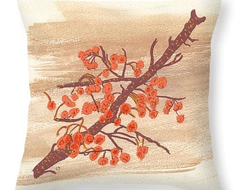 Orange Autumn Berries Watercolor on Branch Pillow Gift Idea