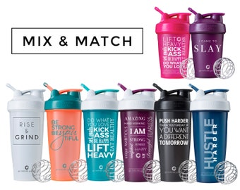Mix & Match 2-Pack BlenderBottle Brand with Motivational Quotes, 20oz and 28oz bottles available, Includes BlenderBall whisk