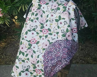Baby Car Seat Canopy - Girls Car Seat Cover - Floral Car Seat Cover - Pink Purple Car Seat Cover
