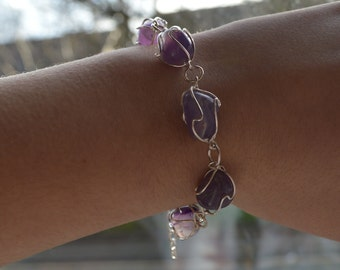Amethyst Cage Silver Plated Bracelet