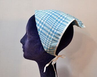 Vintage Kerchief Blue White Hair Accessory