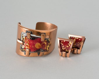 Vintage Matisse Cuff and Earrings   Red and Gold Enamel on Copper