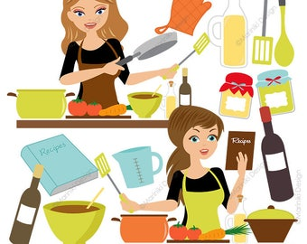 Cooking Kitchen Clipart Set, Baking Clipart, Woman Chef Graphics for Scrapbook, Craft Invitations INSTANT DOWNLOAD CLIPARTS C45