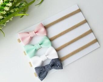 Baby Headbands | Small Bows | Baby Bows | Nylon Headbands | Baby Headband Set | Pink, Mint, White & Denim bitty bows| Newborn Headband