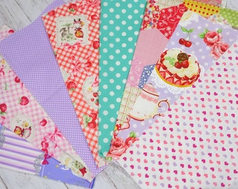 """Girls fabric scrap including Heart Cake little red riding hood dots  print 25 cm by 25   cm or 9.6 """" by 9.6""""  set of 8 pieces sc07"""