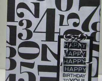 Black and White Numbers Birthday Reminder Book