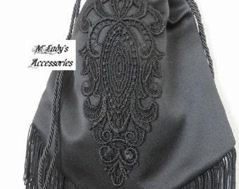 EVENING HANDBAG RETICULE in Elegant Black Satin Accented with Black Embroidered Applique and Black Fringe Civil War Reenactment Steampunk