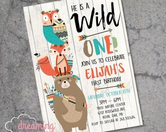 Wild ONE Tribal Forest Animals Woodland Animals Birthday Invitation