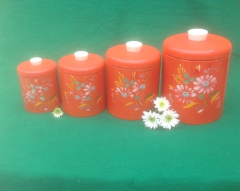 Ransburg Canister Set, Hand Painted Tole Flowers