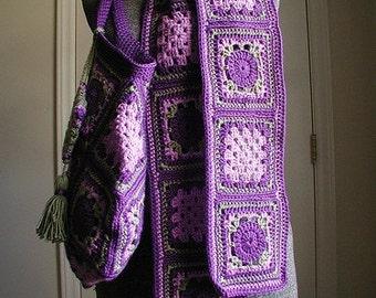 DOWNLOADABLE PDF PATTERN -Crochet Vintage Style Granny Square Scarf