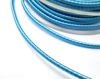 Wrapped silk cord, satin cord, light blue, 2 meters