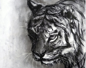 Hunter charcoal drawing giclee art print by Fiona Tang
