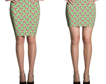 Fitted Skirt Pencil or Mini, Stretchy printed knee length or shorter miniskirt Christmas Peppermint Candies Holiday bodycon 13024