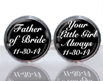 Round Glass Tile Cuff Links - Father of the Bride Personalized CIR117