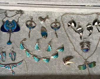 OBO - Norman Grant and Pat Cheney Vintage Enamel Sterling Silver Necklace, Bracelet, Earrings, Brooch