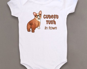 Cute Baby Bodysuit, Unique Baby Clothes, Corgi baby, Puppy, Dog baby clothes, Animal Baby Clothes, Kids Clothes, Baby gift