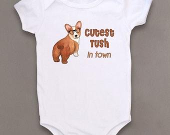 Cute Baby Bodysuit, Unique Baby Clothes, Corgi baby, Puppy, Dog baby clothes, Animal Baby Clothes, Kids Clothes, Baby gift