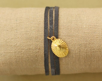 Leather Wrap Bracelet with Gold Opihi Shell
