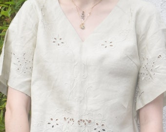 Linen Eyelet Lace Top.