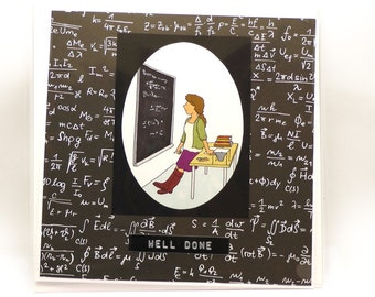 50% OFF - FINAL CLEARANCE - Physicist Well Done Card - Women in Science - Physics, Mathematics - Square Card