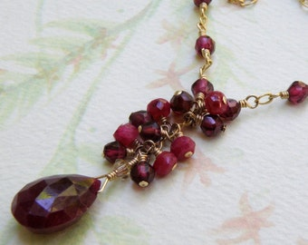 Genuine Ruby Necklace, Gold Filled, Garnet Accents, Natural Red Stone Pendant, Wedding Handmade Jewelry, July Birthday Birthstone