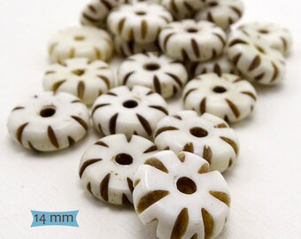 Bone Notched Gear Donut Spacer Beads--10 Pcs | 20-BN222-10