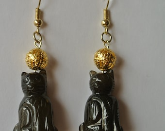 Gold and Black Cat Earrings With Gold Fishhook