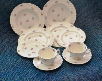 DEVONSHIRE Royal STAFFORDSHIRE Service for 2(10 pieces) Ceramics, Clarice Cliff .ENGLAND. Cream, tiny flowers, All pieces Swirl & Scalloped