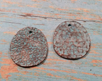 Two (2) MOONSCAPE 29mm Mykonos Greek Casting Charm or Pendant GREEN PATINA